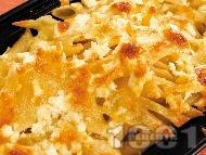 Гратен от пилешко филе и макарони с кашкавал, сирене и сметана на фурна